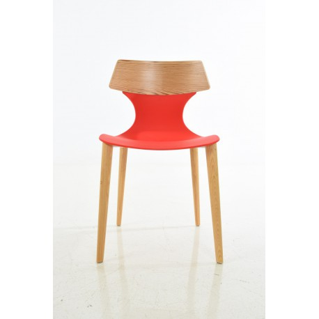 PP chair, with wood back, with wood leg