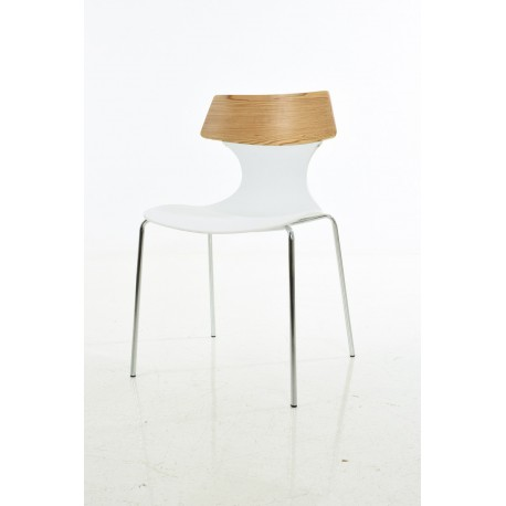 PP chair, with wood back with chromed leg