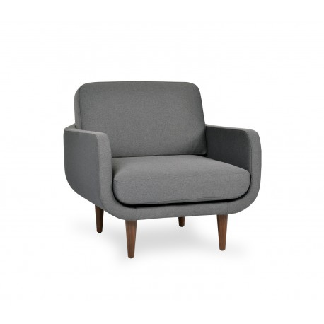 1 Seater Sofa,Fabric Upholstery, Includes loose seat, loose back and loose side cushions, solid wooden legs (KD)