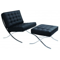 BRAVO lounge chair met voetenbank in leder