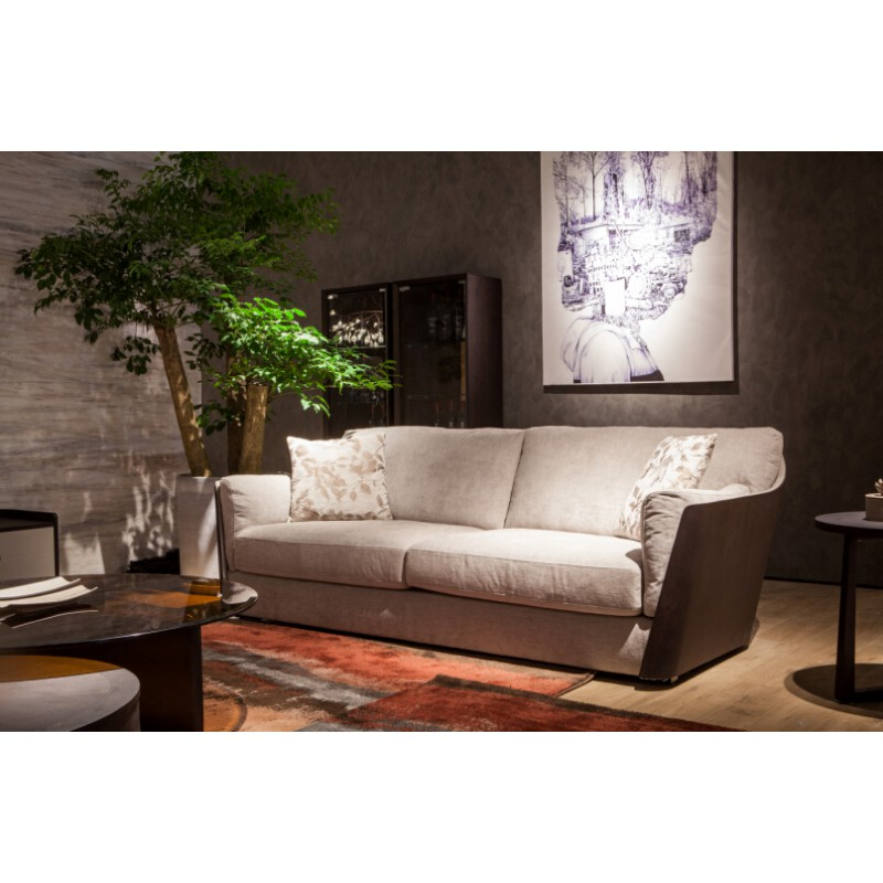 Three Seaters Sofa With Wood Fabric Stylmart