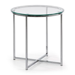 VIVID Coffee table with steel chromed legs. Top in transparent tempered glass