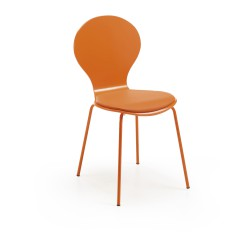 JAZZ wooden diningchair, orange with synthetic leather seat, orange metal legs