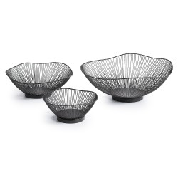 ARABEL Set of 3 metal black bowls