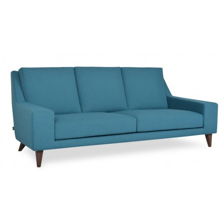 3 seaters sofa, Fabric or leather upholstery, Solid wooden base, with walnut veneer, clear lacquer finish.