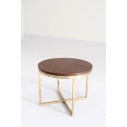 Valentina side table, MDF top +solid wooden base w/ walnut veneer, clear lacquer finish