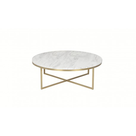 Valentina coffee table, White marble top+s/s base chroming to champagne color