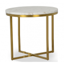 Valentina side table, White marble top+s/s base chroming to champagne color