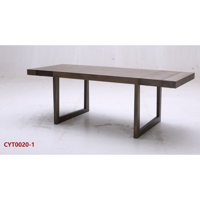 Dining table solid oak frame with catalpa veneer stylmart - Oak veneer dining table ...