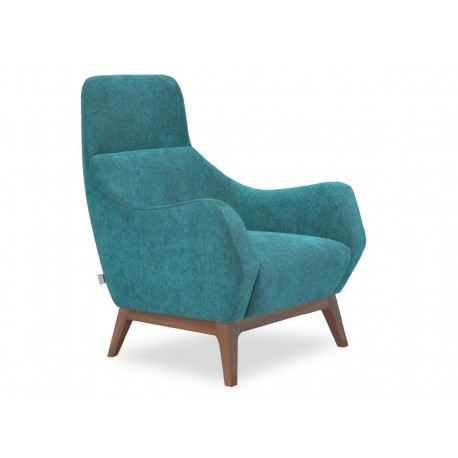 Lounge Chair, Fabric or leather upholstery, w/seat cushion, Solid wooden frame, with walnut veneer, clear lacquer finish